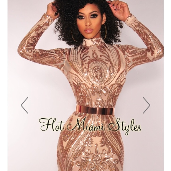 b69e7f86f1d9df Hot Miami Styles Dresses | Rose Gold Victorian Sequins Mesh Long ...